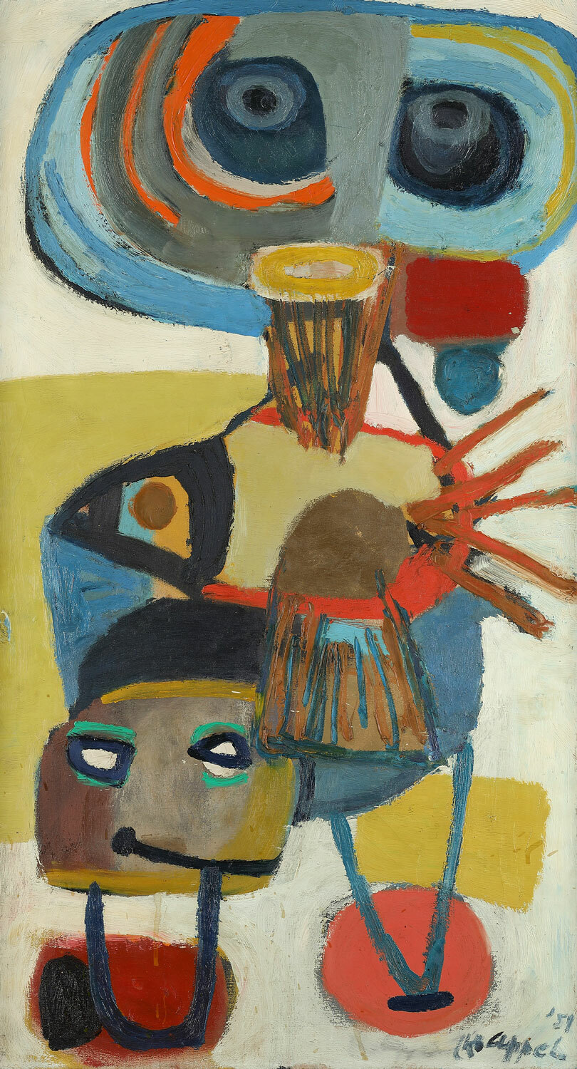Image: Karel Appel, Baardman Viskop, 1951, oil on canvas, 90 x 50.2 cm.; Kunsthalle Emden