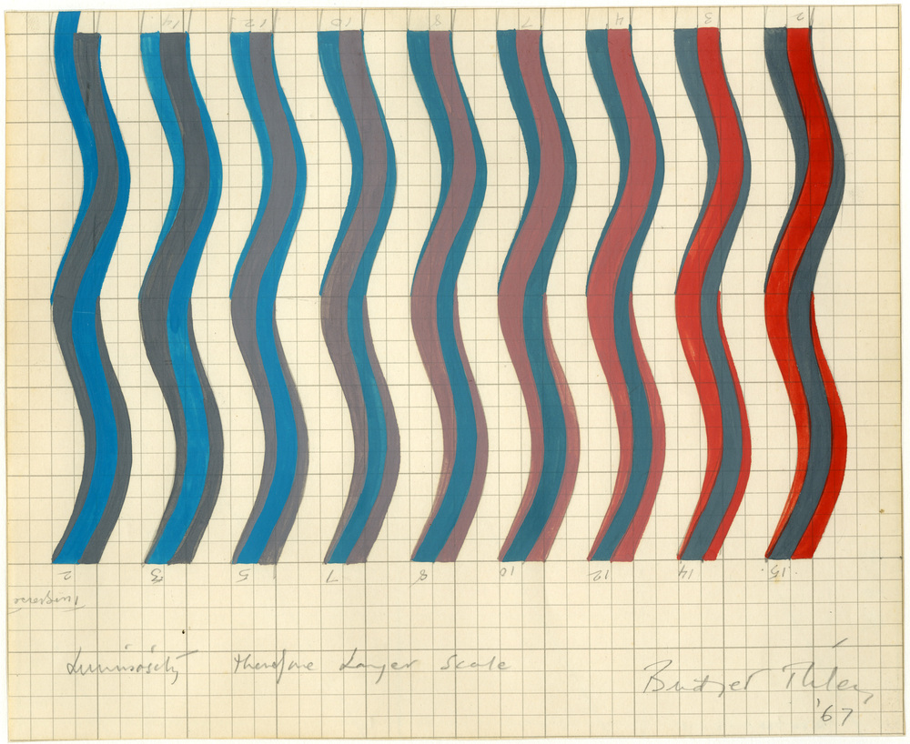 Bridget Riley, Greys (red and turquoise), 1967. Courtesy of the British Museum. © Bridget Riley 2021. All rights reserved.